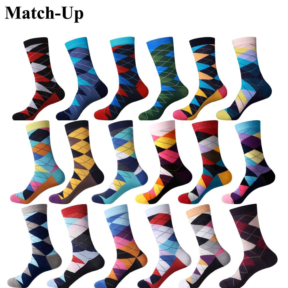 Match-Up ARGYLE SOCK Men's Combed Cotton Socks Brand Man Dress Knit Socks Wedding Gifts  US Size(7.5-12)
