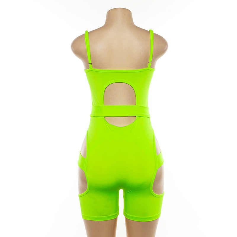 Mujeres Sexy hebilla vendaje monos mamelucos pantalones cortos Pijama fluorescente hueco corto mono Jumpsuits bicicleta Fitness trajes