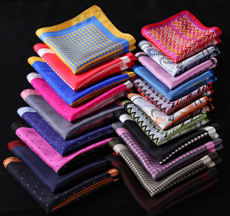 RE Herringbone Paisley Dot Houndstooth Handkerchief 100% Natural Silk Satin Mens Hanky Fashion Wedding Party Pocket Square