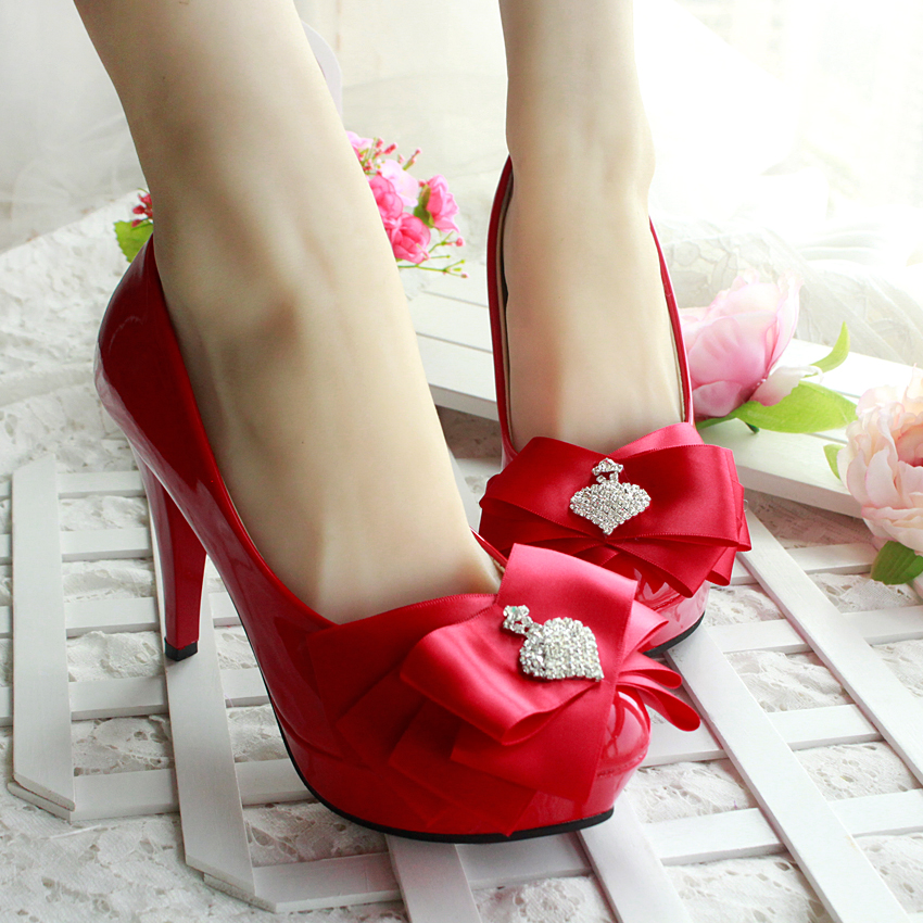 ФОТО Aesthetic red bow flower princess wedding shoes bridal shoes bridesmaid women's new design party red shoe