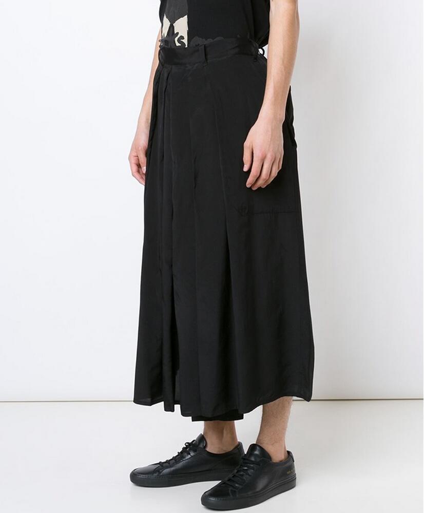 27-44! 2016 Neue Herrenbekleidung Mode Männlichen Plissierte Culottes Hosen Breites Bein Hosen Plus Größe Sängerin Kostüme