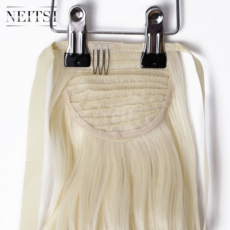 Купить с кэшбэком Neitsi Curly Long Clip In Hair Tail False Hair Ponytail Hairpiece With Hairpins Synthetic Hair  613#