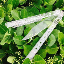 1pc Acrylic Balisong Butterfly Folding Pocket Tools Model Not Sharp Butterfly Practice Training Fixed Knife Karambit Csgo Knife not sharp knife american butterfly practice knife stainless steel camping tool combe balisong knife