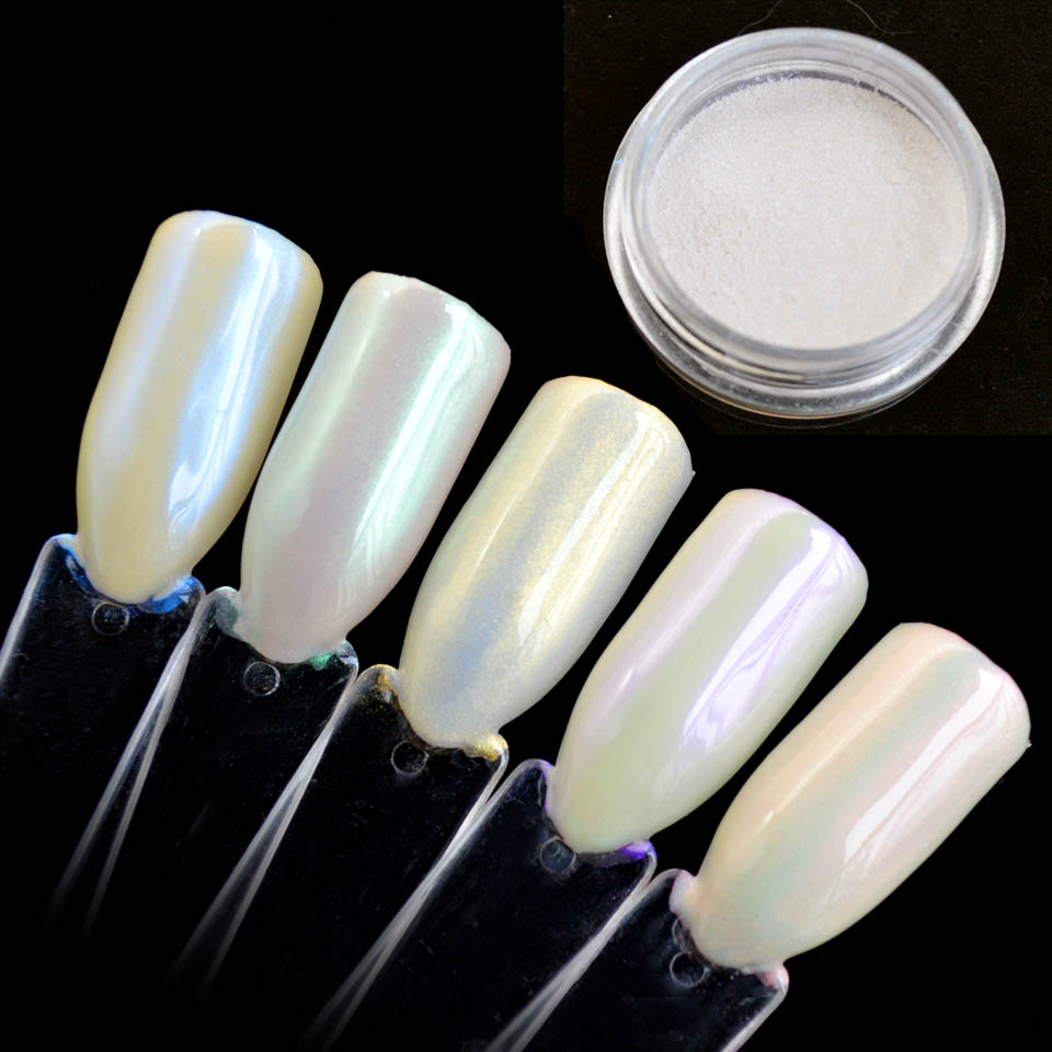 5 Colors Diamond Pearl Powder Shining Mermaid White Nail ...