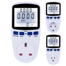 ЕС/США/Великобритания Plug цифровой счетчик энергии 220 В ваттметр с подсветкой электронный измеритель мощности запись Вольт Напряжение розетка метр