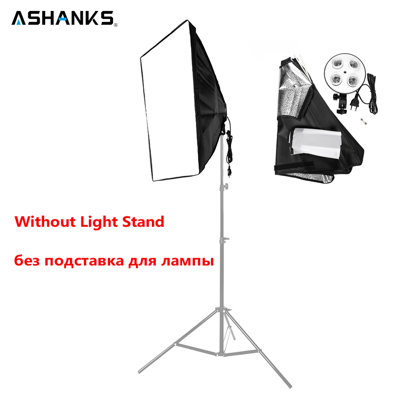 ASHANKS 50*70cm/19*27'' Softbox With 1 To 4 Socket Lamp Head Lighting Accessories For Photo Video Studio Light Diffuser Soft Box