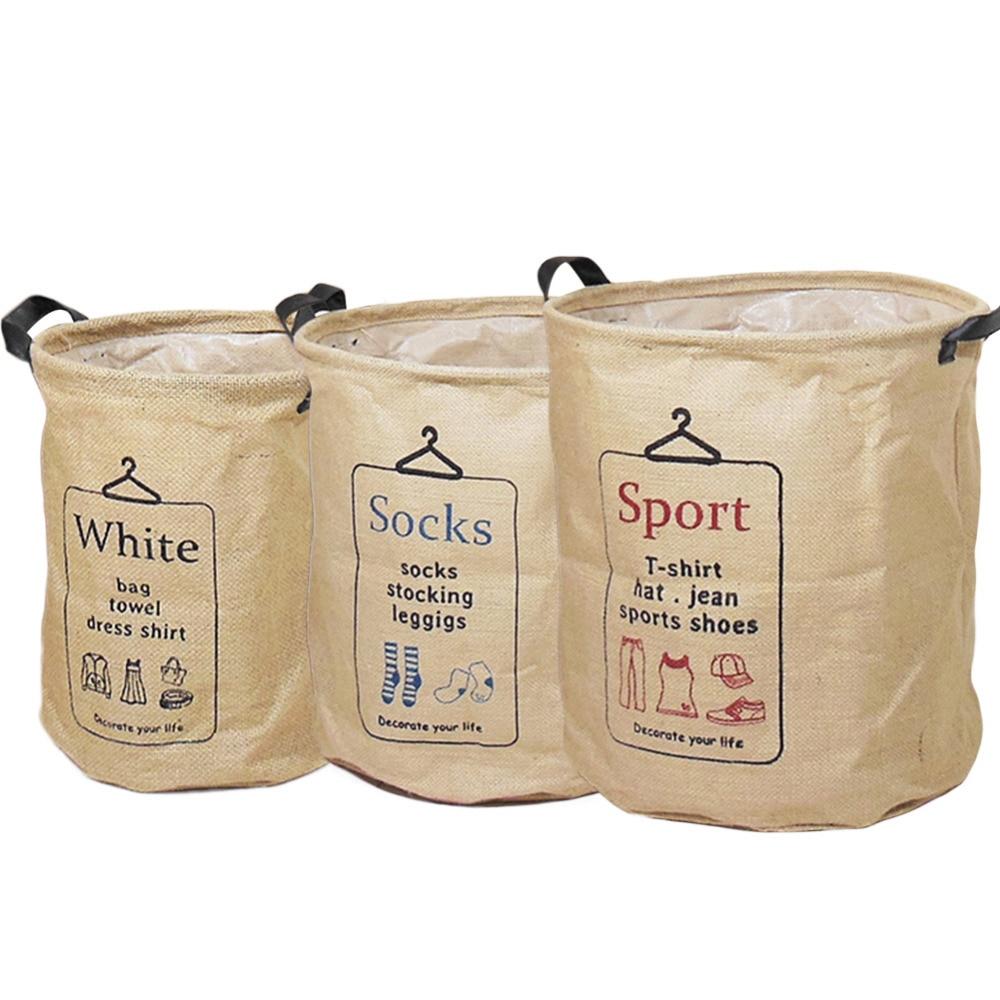 New Arrival 3 Types Foldable Jute&PE Storage Bucket Washing Clothes Durable Laundry Storage Basket Bag 2 Sizes Drop Shipping