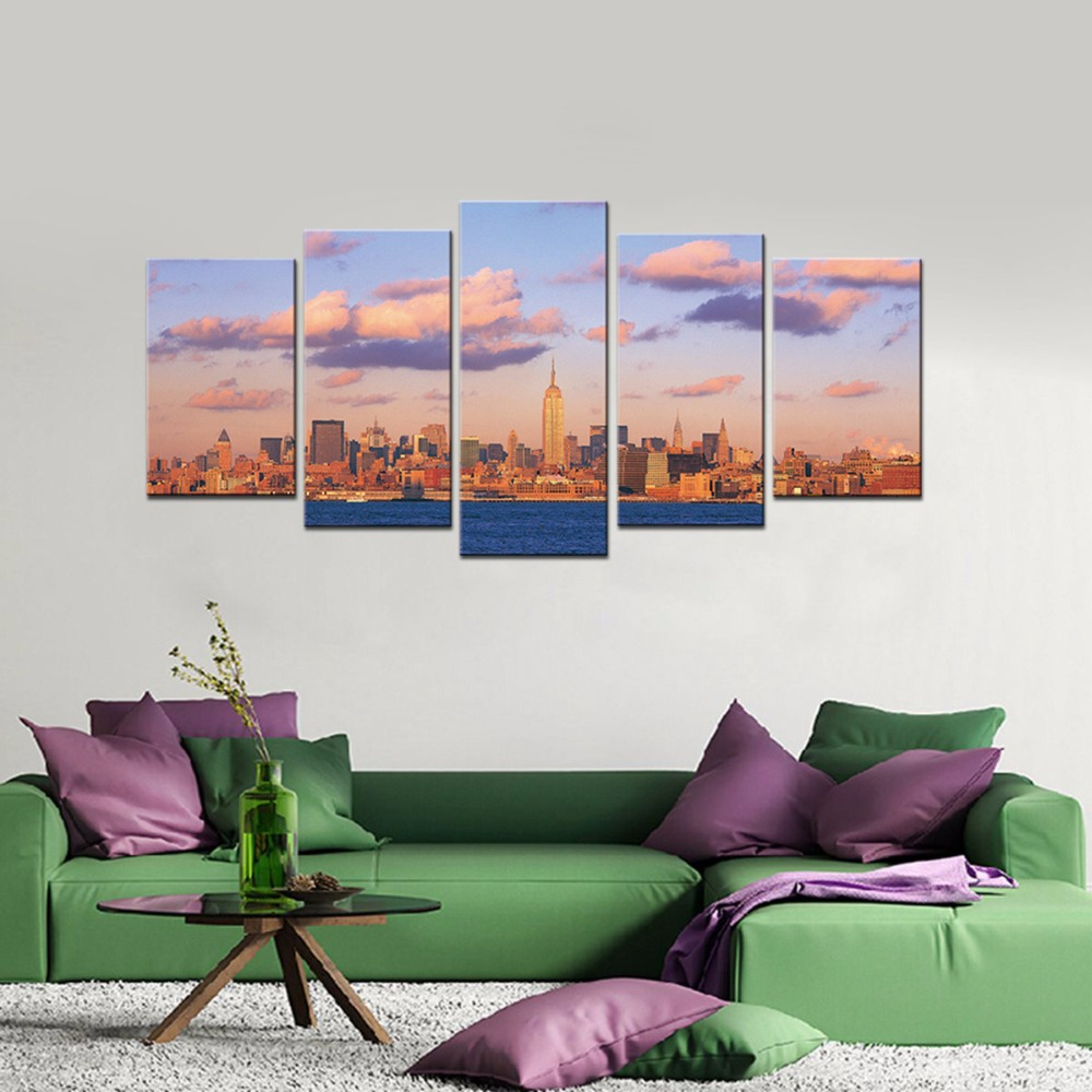 sunset seaside buildings modern hd giclee printed canvas picture