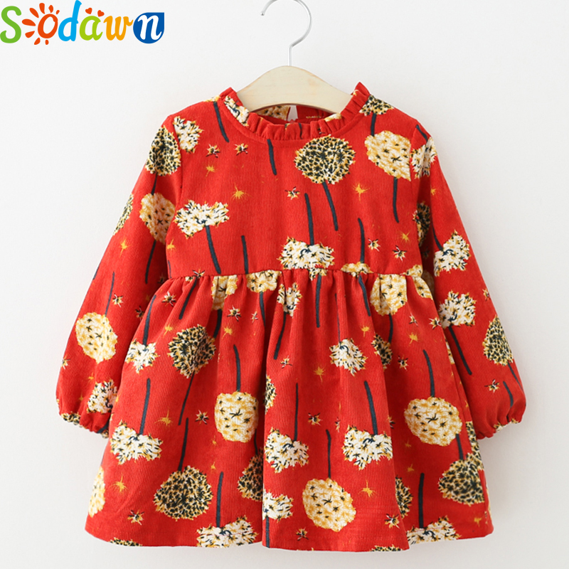 Sodawn 2017Autumn New Girls Dress Baby Girls Clothes Corduroy Lace Collar Printing Long-Sleeved Princess Dress Children Clothing
