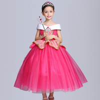 2017 New Fashion Girl Aurora Dress Children Sleeping Beauty Princess Costume Kids Party Dress Girls Ball