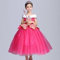 2017 New Fashion Girl Aurora Dress Children Sleeping Beauty Princess Costume Kids Party Dress Girls Ball