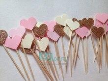 40PCS 수제 사랑스러운 핑크 하트 컵케익 Toppers, 여자 베이비 샤워 장식, 파티 용품 생일 웨딩 파티 장식
