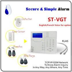 Promozione Pirce Inglese Italiano Francese opzione Vocale di Allarme Senza Fili TCP IP RJ45 Ethernet di Allarme GSM SMS di Sicurezza Domestica Sistema di Allarme