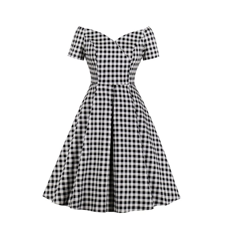 Elegant Vintage Plus Size Party Black Sweet Women Midi Dresses High Waist Plaid Aline Dinner Retro 2019 Female Fashion Dress