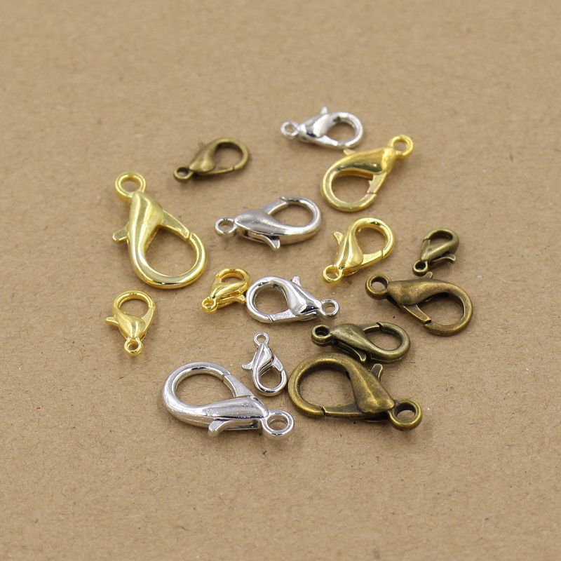 100 Pieces Silver//Gold Lobster Clasps Necklace Bracelet Findings Fastener