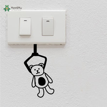 YOYOYU Vinyl Wall Decal Clip Doll Bear Switch Small Objects Kids Room Bedroom Funny Home Decoration Stickers  FD471