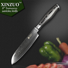 XINZUO 5″ Japanese VG10 Damascus chef knife kitchen knife santoku knife Japanese chef forged color wood handle FREE SHIIPPING