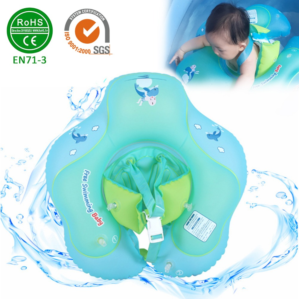 Infant Underarm Inflatable Pool Float with Backrest and Strap Baby Waist Inflatable Circle Float Swimming Pool Toys for 2 to 6