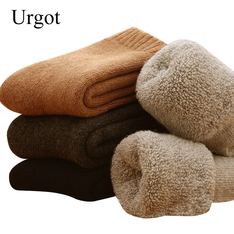 Urgot 5 Pairs Men's Wool Socks Super Thicker Merino Wool Rabbit Socks Against Cold Snow Russia Winter Warm Funny Happy Socks Men