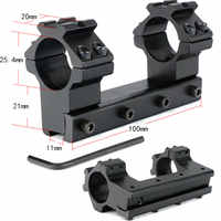 Long 10cm High Profile 11mm Dovetail Airgun 25.4mm Rings with Stop Pin 20mm Rail For Hunting Tactical Rifle Scope Mount