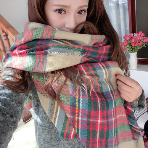 Lady Women Cozy Mini Blanket Oversized font b Tartan b font Scarf twine Shawl Plaid