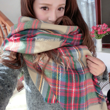 Lady Women Cozy Mini Blanket Oversized Tartan Scarf twine Shawl Plaid
