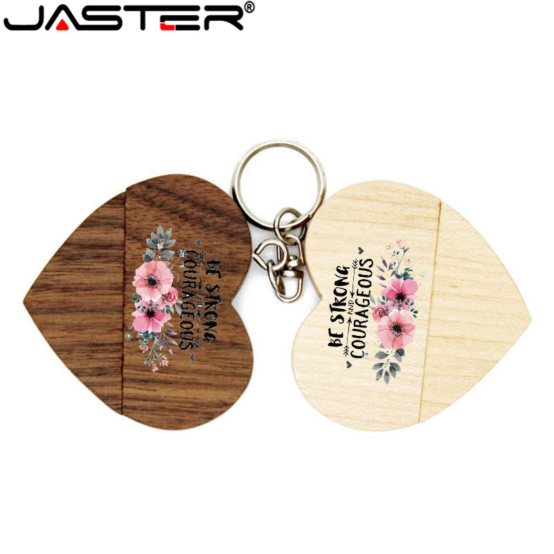 JASTER (over 1pcs Free LOGO)Wooden Heart Usb Flash Drive Memory Stick Pen Drive 8g 16g  32gb 64GB Wedding Gift Photography Gift