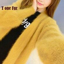 Натуральный норковый кашемир, толстое теплое пальто, настоящий натуральный норковый кашемировый свитер, роскошная фабричная, OEM скидка KFP892