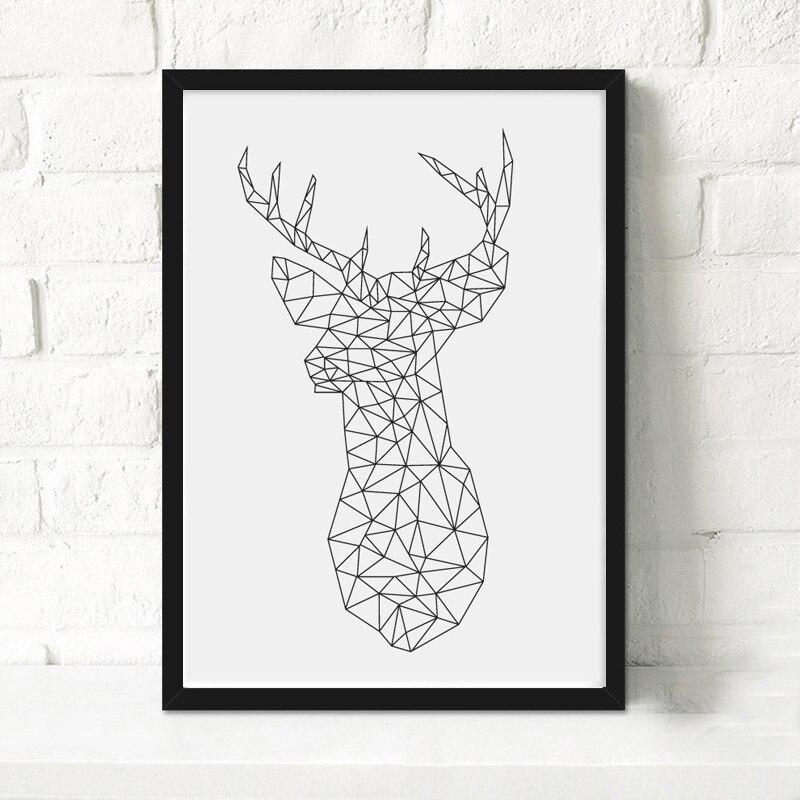 Geometric Purple Deer Wall Art Print Modern Poster Buck: Chic Design Modern Nordic Geometric Animals Abract Deer