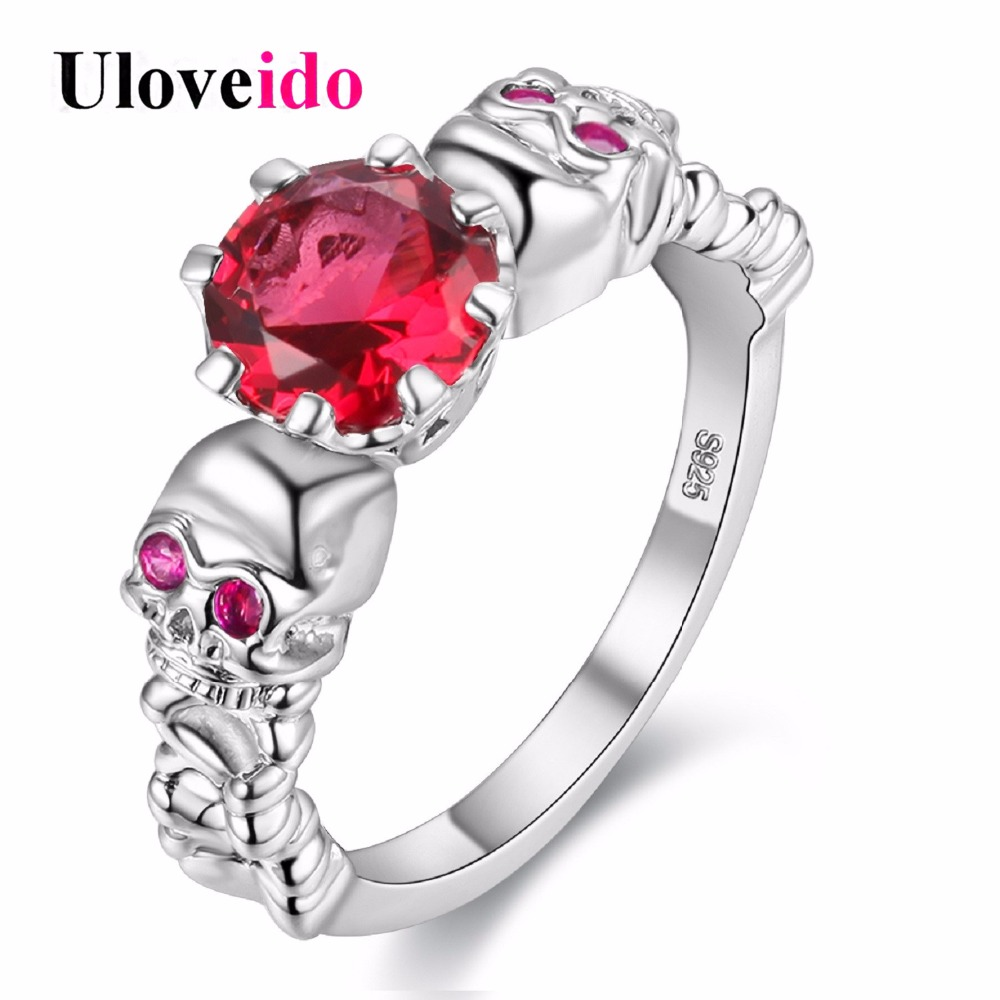 Uloveido Official Store Uloveido Red Ring Cubic Zirconia Skull Silver Color Rings for Women Girls Christmas Party Jewellery Gifts Sale Bague Homme Y193