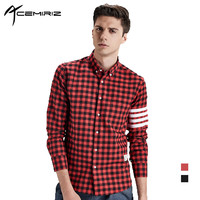 Mens Spring Autumn Plaid Shirt College British Style Red Black White Casual Shirts Young Boys HT