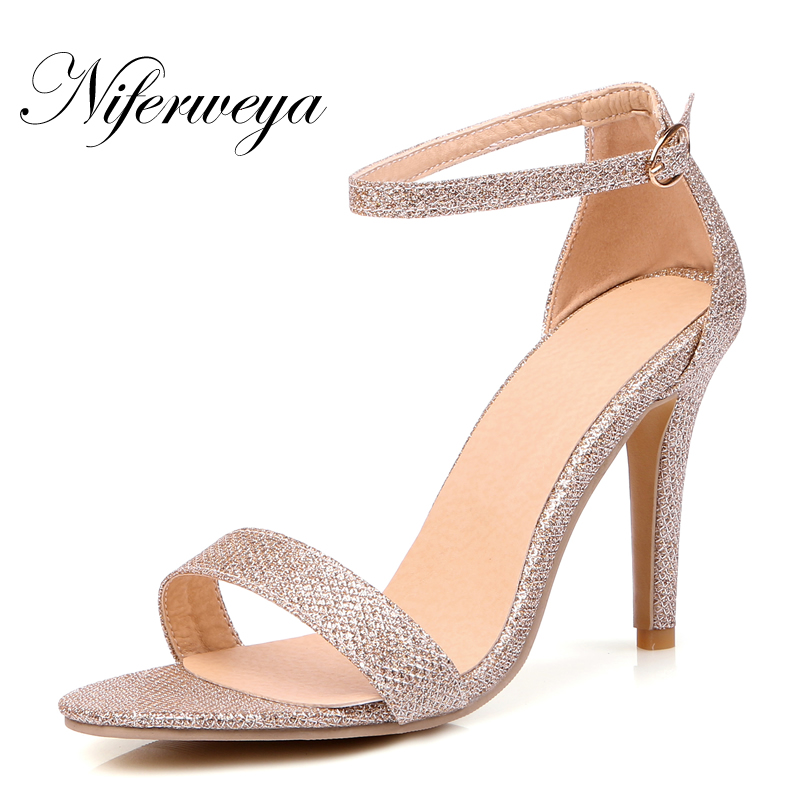 Sexy Summer women shoes Fashion Peep Toe Buckle Strap silver thin heel high heels big size 32-45 Ankle Strap party gold Sandals new arrival black brown leather summer ankle strappy women sandals t strap high thin heels sexy party platfrom shoes woman