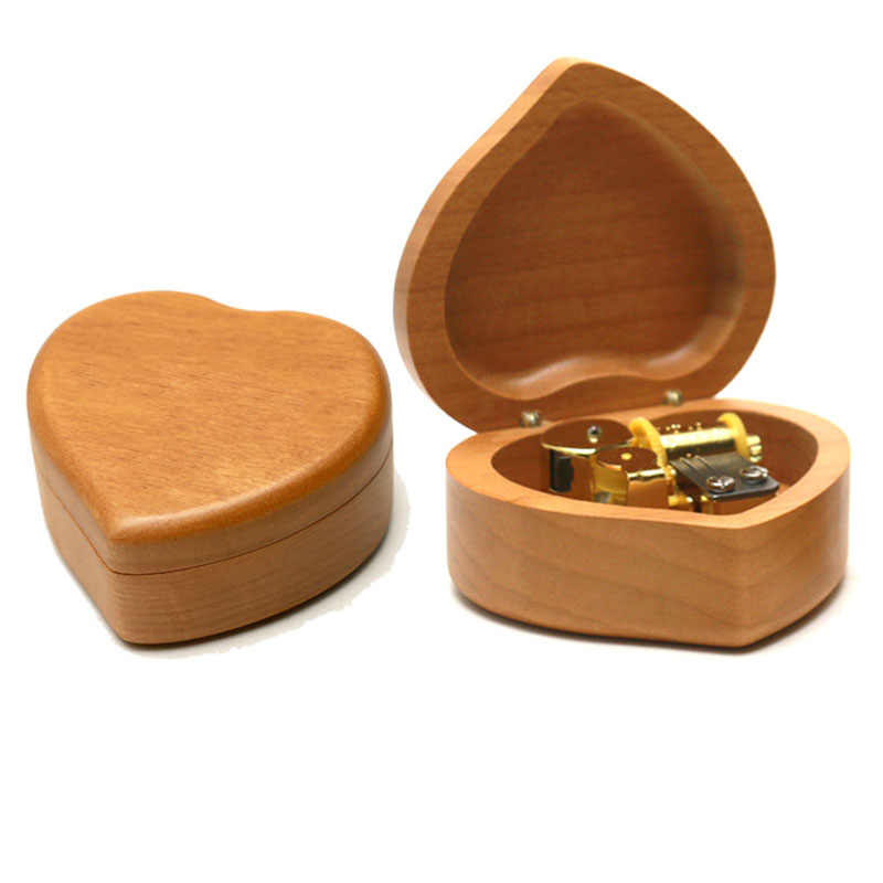 Heart Shaped Maple Wood Music Box Wind Up and Golden Movement Best Gift for Birthday Christmas