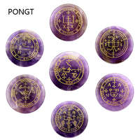 Set of 7 pieces natural stones amulet pendulum reiki healing stones Engraved Seven Archangel Symbols Summon Magic Circle