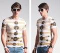 Verão Impresso T Camisas Men Short-Manga O Pescoço Dos Homens do Algodão Tops Tees Camisas Tigre Fino Padrão T-shirt Dos Homens SX620