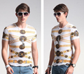 Verano Impreso Camisetas Hombre de Manga Corta O Cuello de Algodón de Los Hombres Tops Tees Camisetas Tigre Patrón Delgado Camisetas de Los Hombres SX620