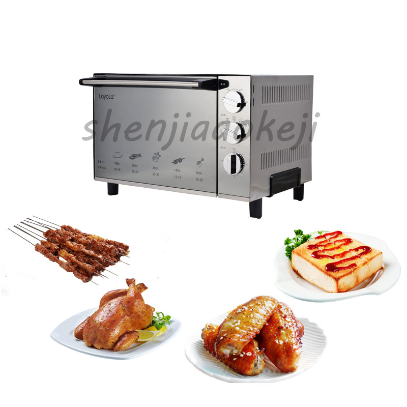 Electric oven 23L Stainless steel Baking Cakes, Tortillas, Baked Chicken Wings,Household Pizza oven 220V 1800w salter air fryer home high capacity multifunction no smoke chicken wings fries machine intelligent electric fryer