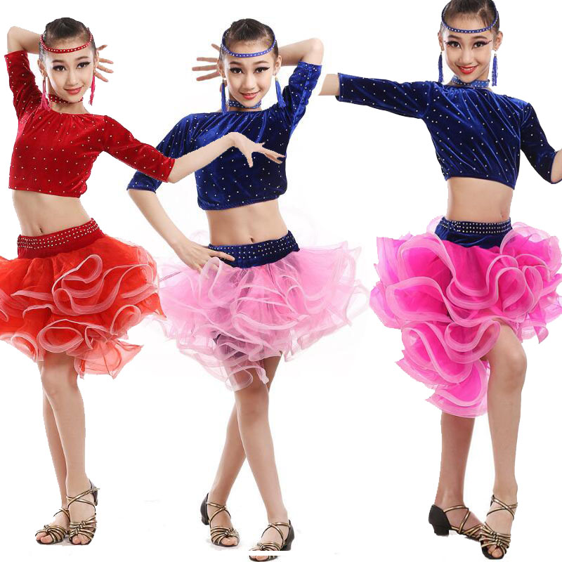 Fille latine danse robe enfants Samba daccéwear robe Costumes enfant paillettes salle de bal patinage artistique compétition robes