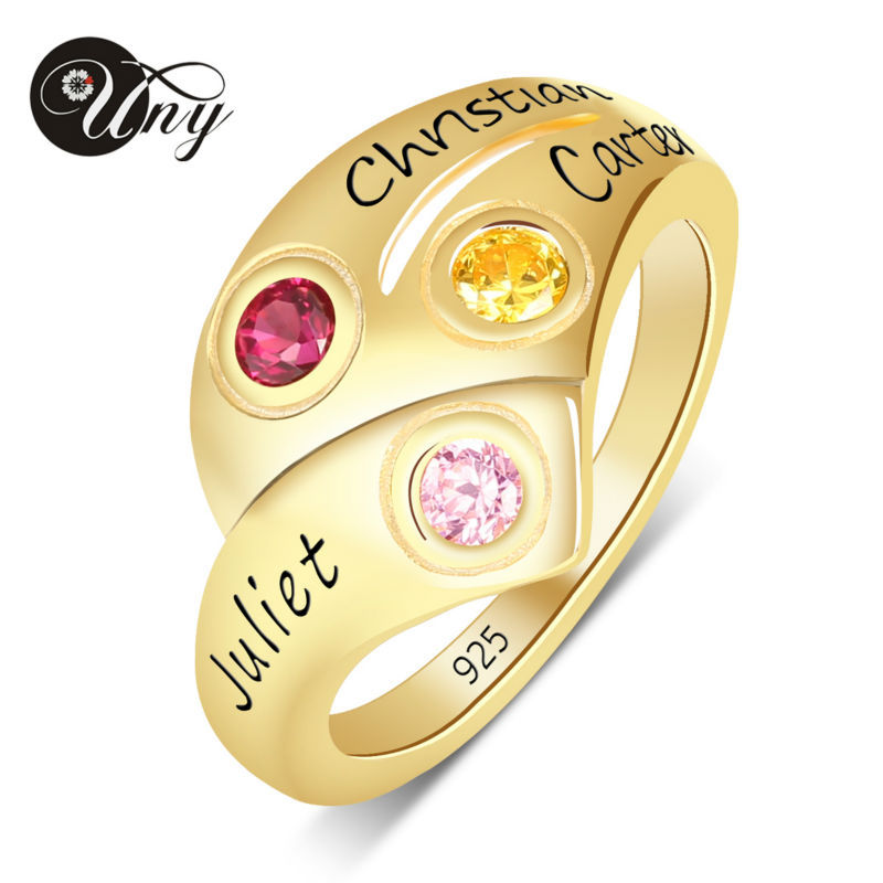 UNY Ring 925 Sterling Silver Mother Customized Engrave Rings Family Heirloom Ring Anniversary Personalized Love Birthstone Rings