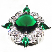 Luxury Noble Delicate Cubic AAA Zircon green Crystal stone Big Flower Ring wholesale can Custom color on the stone 1815