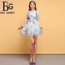 Baogarret Fashion Designer Summer Dress Women's Ruffles Backless Mesh Overlay Floral Printed Elegant Vintage Mini Dresses plus botanical mesh overlay 2 in 1 dress