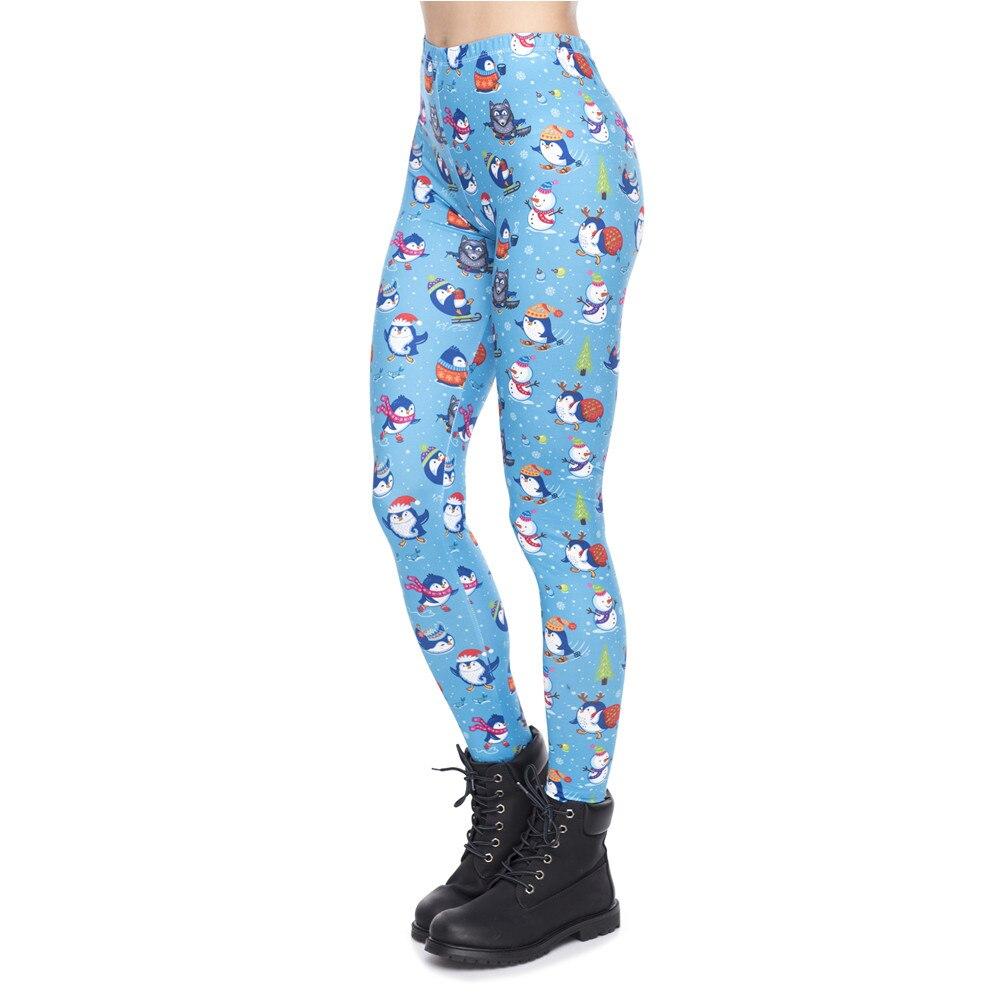 Christmas Series Women   Legging   Penguins Winter Fun Printing Fitness   Leggings   Slim High Waist Woman Pants