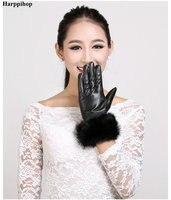 High Quality Women Lady Black Sheepskin Leather Gloves Autumn Winter Warm Rabbit Fur Mittens Hottest Velvet