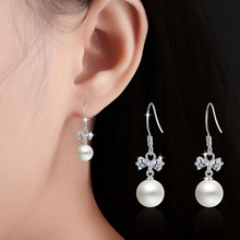 2017 New Arrival Women Bowknot Earring Imitation Pearl Earrings Jewelry for women Female Tassel Ear Silver Jewelry Free Shipping