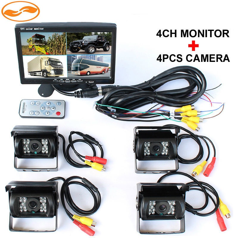 DC 12V~24V 7 LCD 4CH Video input Car Video Monitor With 4 Pcs Rear View Camera 6 Mode Display For Truck Caravan Vans