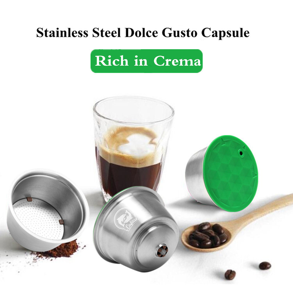 For Dolce Gusto Refillable Crema Coffee Capsules Filter Cup Dripper Metal Stainless Steel Reusable Coffee Filter Coffee Tamper