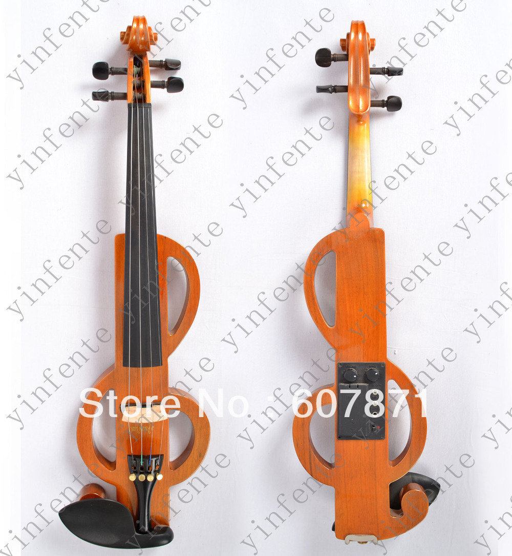 New   4 string 4/4 Electric violin silent wonderful toneHand Carved Solid Maple Construction. yellow new 4 string 4 4 electric acoustic violin patent silent fine sound 1
