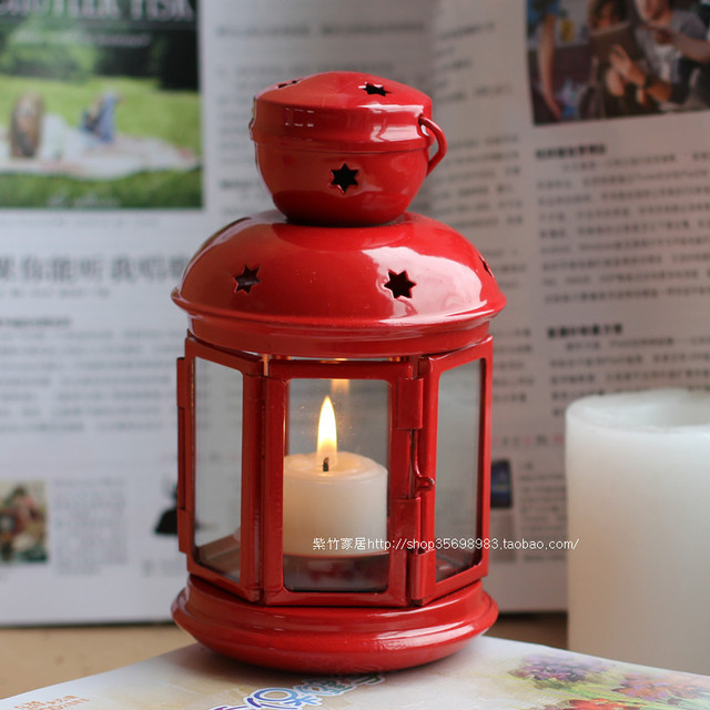 Ikea Candlestick Candle Holder Clic European Red Lantern Wedding Supplies Photography Props