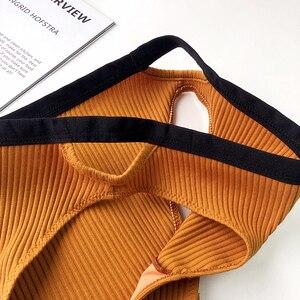 Image 5 - Style japonais coton ver sans fil Bralette et culotte sexy creux soutiens gorge avec coussinet biquini sous vêtements lingerie confortable