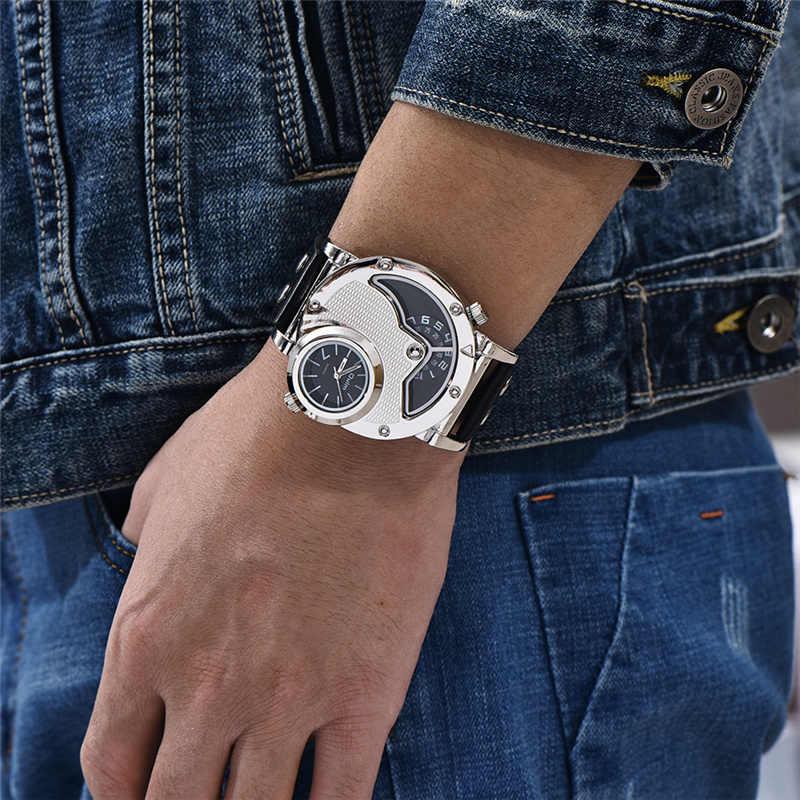 Oulm di Nuovo Stile D'argento di Caso Two Time Zone Casual Vigilanze di Modo degli uomini di Cuoio DELL'UNITÀ di elaborazione di Sesso Maschile Sport Della Vigilanza Del Quarzo Orologio orologio Da Polso Da uomo